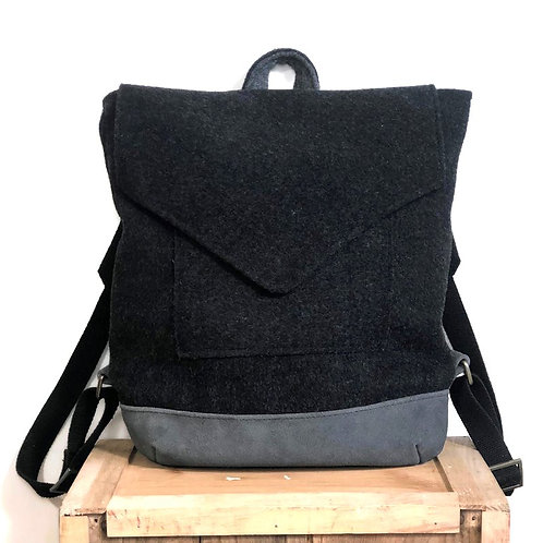 Upcycled Unisex Grey Wool Felt Back Pack with Grey Suede Base