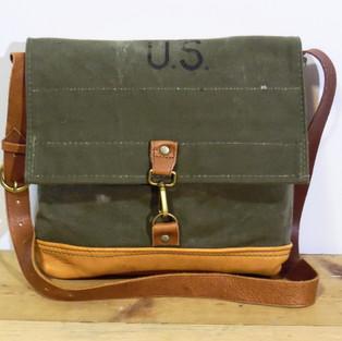 Vintage US Army Duffle Canvas Flap Top Bag