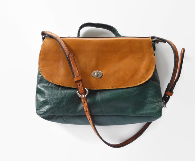 Upcycled Green Couch Leather Flap Top Ba