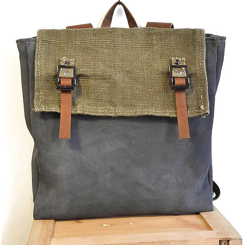 Upcycled Unisex Grey Suede Back Pack with Green Military Textile & Brown Leather