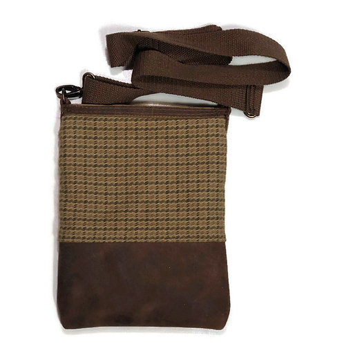 Tan and Moss Houndsdtooth and Brown Leather Crossbody Purse