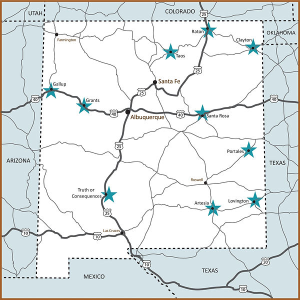 Map of New Mexico Rural Hospital Network member hospital locations NMRHN