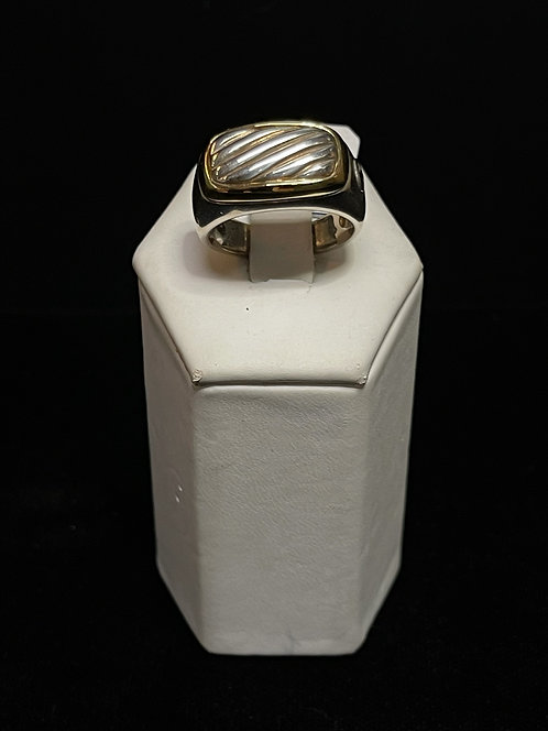 18KYG Cable Signet Ring