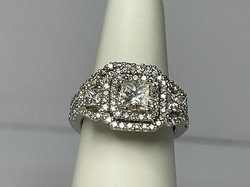 Platinum Apex Center Stone Halo Wedding Set Ring