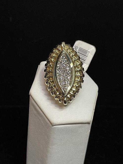 14KYG Marq. Shape Ring with Diamond
