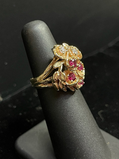 14KYG Diamond Ruby Cluster Flower Ring