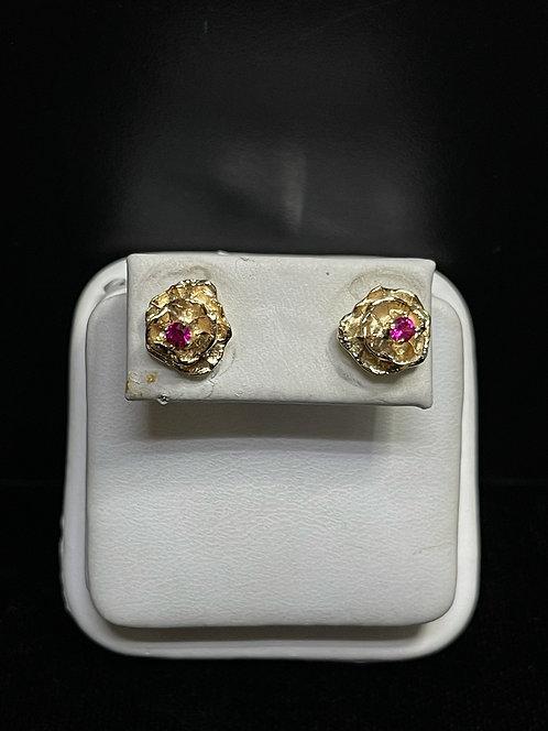 14KYG Ruby Rose Stud Earrings