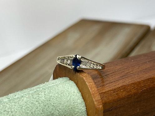 10KWG Marquise Sapphire Diamond Ring