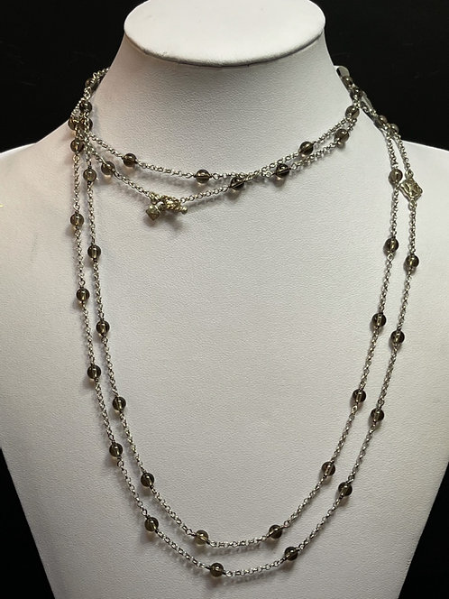 "David Yurman 60"" Beaded Smokey Quartz Necklace"