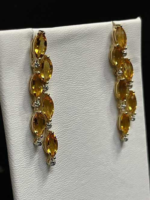 14KYG Citrine Dangle Earrings