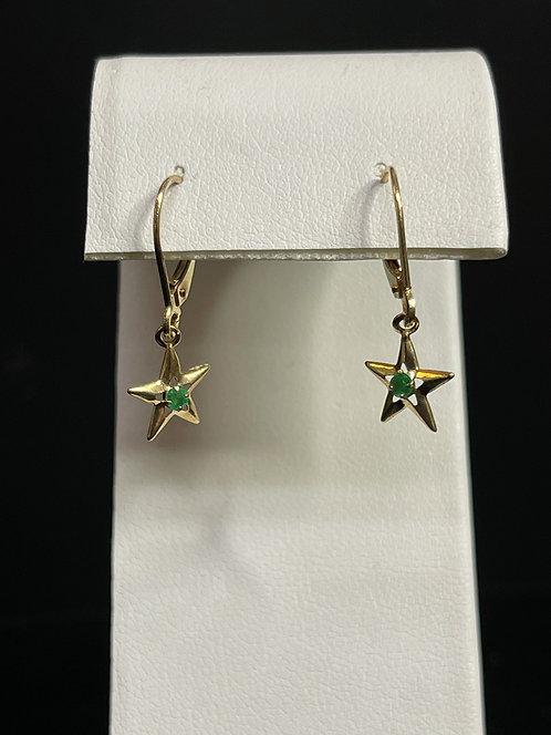 14KYG Emerald Star Earrings
