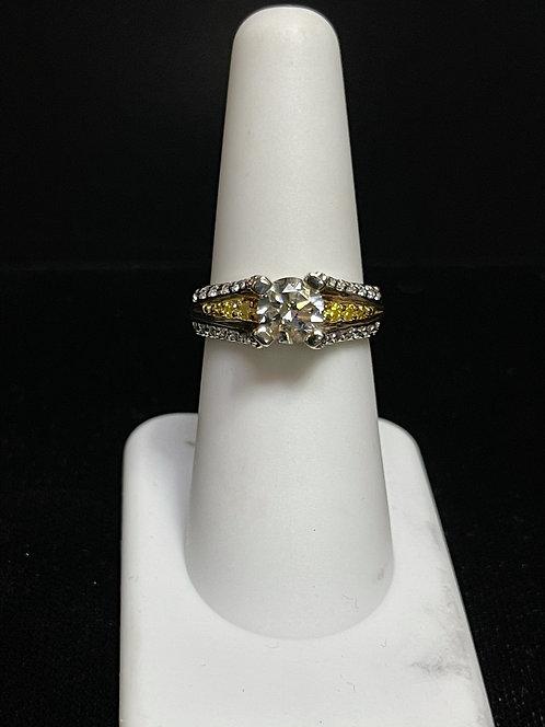 14KT Finelli Mount Ring w Yello Diamond Accents