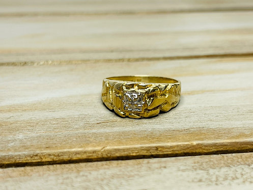 14KYG Nugget Ring w Accent Stone