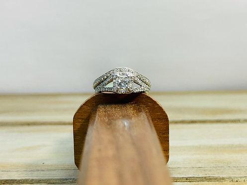 18KWG Cushion Cut Halo Ring