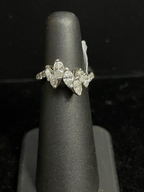 Platinum Diamond Marquise Round Ring