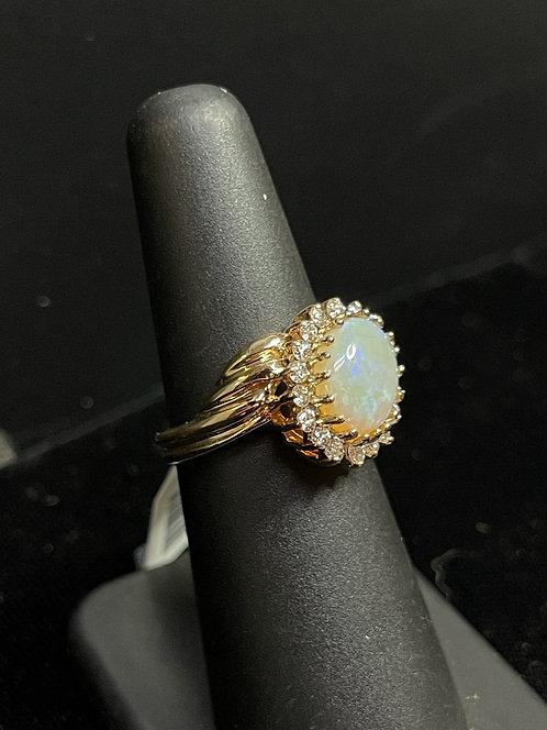 14KYG Opal with Diamond Halo Ring
