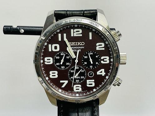 Seiko Solar Chronograph V175-0CG0 Brown Dial Pilot Military Men's Watch SSC227