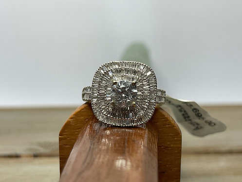 14K Diamond Ring Bag Halo & Accents