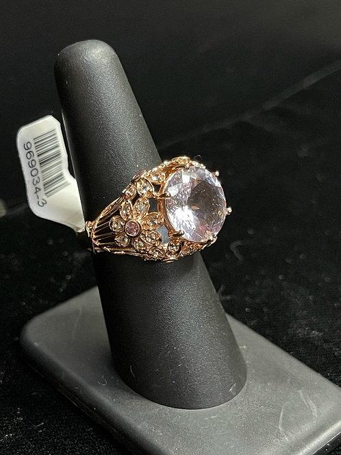 14KRG Rose Quartz Amethyst Blue Topaz Ring