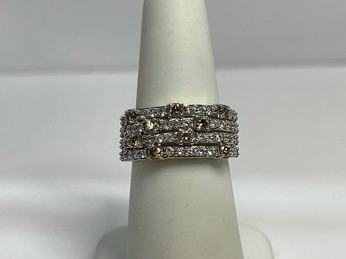 Diamond Ring w White and Champagne Diamonds