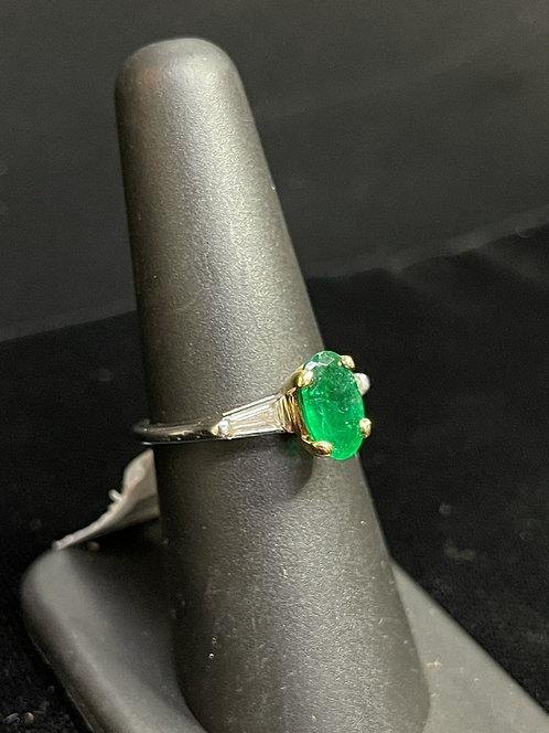 Platinum Emerald Diamond Ring