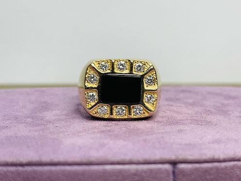 14KYG Diamond Onyx Ring