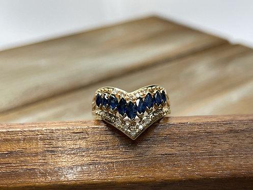 10KYG Sapphire Chevron Ring