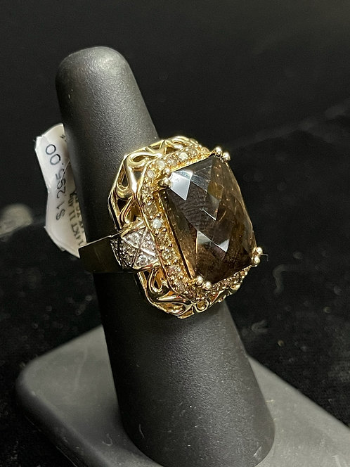 14KYG Smokey Quartz Diamond Accents Ring