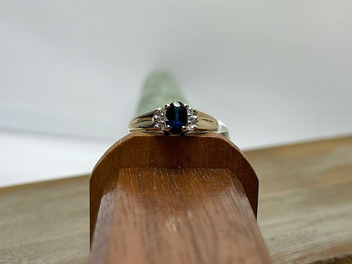 14KYG Sapphire Ring with Diamond Accents
