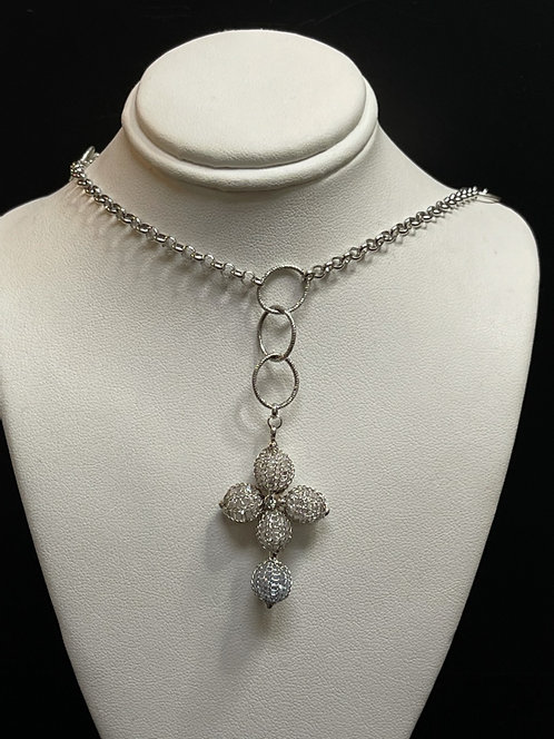 14/10KWG Cage Stone Cross Necklace