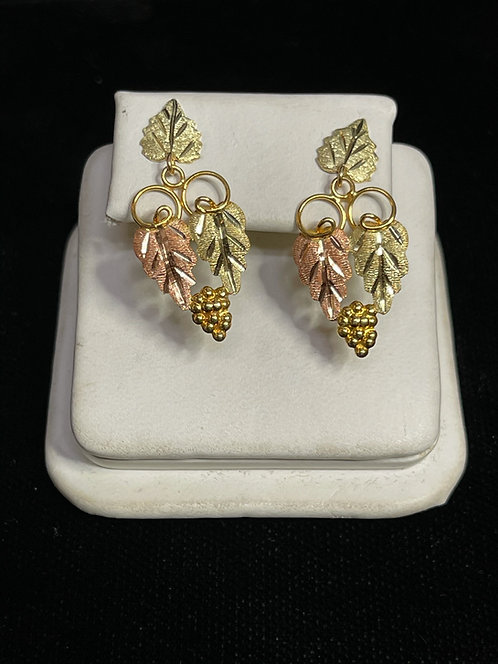 10K BHG Grapes and Leaf Earrings
