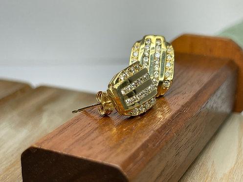 14KYG Diamond Row Huggie Earrings