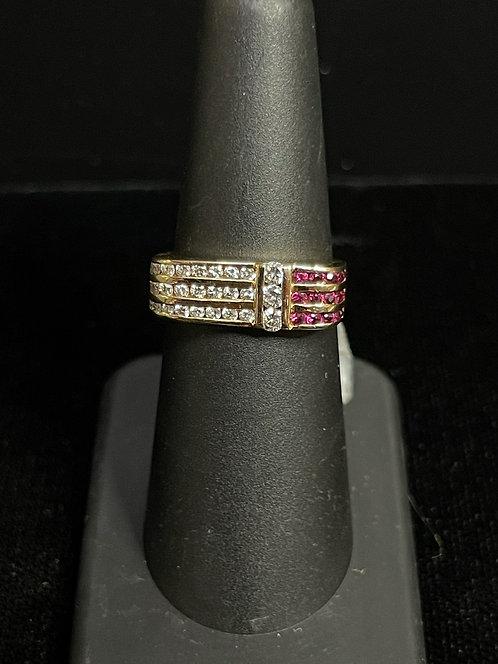 14KYG Diamond Ruby Ring