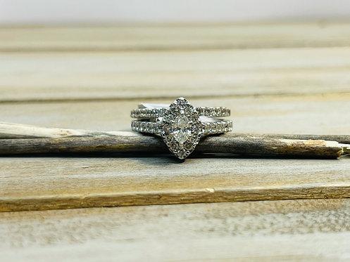14KWG Marquise Halo Wedding Set Ring
