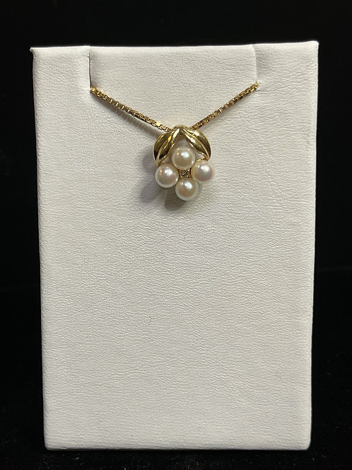 "18"" Box Chain with Pearl and Diamond Accent Pendant Necklace"