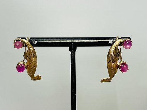 10KYG Leaf Earring Set w/ Star Sapphires