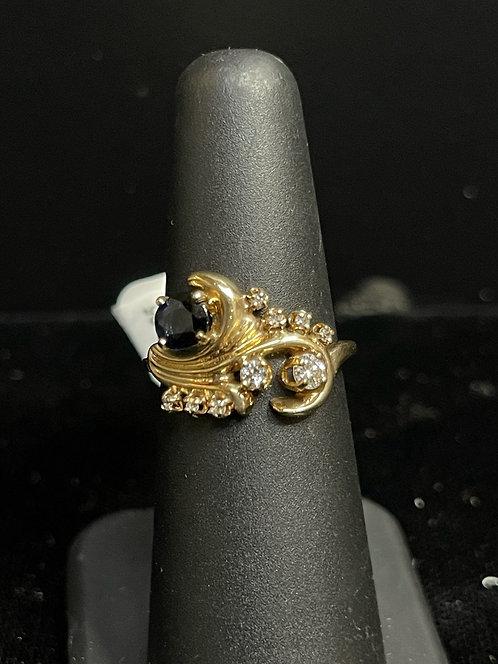 14KYG Sapphire & Diamond Ring