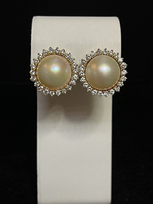 Pearl & Diamond Earrings 14K YG