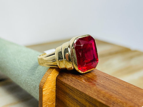 10KYG Mens Synthetic Ruby Ring