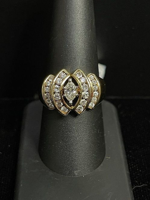 14KYG Marquise with Round Channel Sides Ring