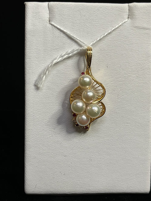 14KYG Cultured Pearl Pendant with Diamond Natural Ruby
