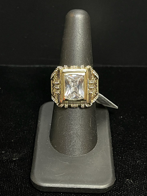10KYG CZ Mens Emerald Cut Ring