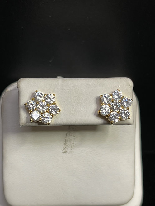 22KYG White Sapphire Flower Cluster Earrings