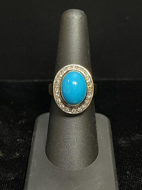 18KYG Sleeping Beauty Turquoise Ring
