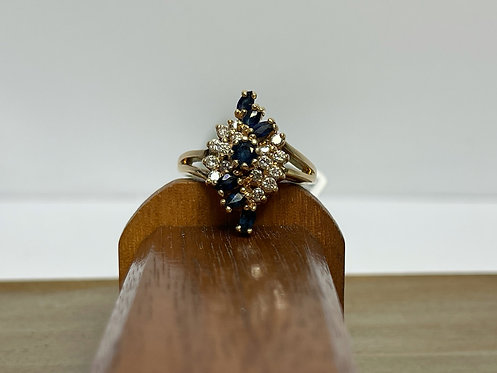 14KYG Marquise Shaped Sapphire and Diamond Ring