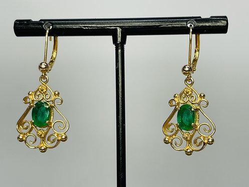 14KYG Vintage Emerald Earrings