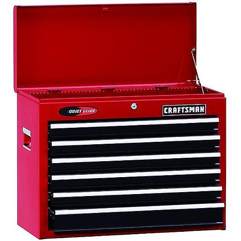 """Craftsman 26"""" Wide 6-Drawer Quiet Glide® Top Chest - Red/Black"""