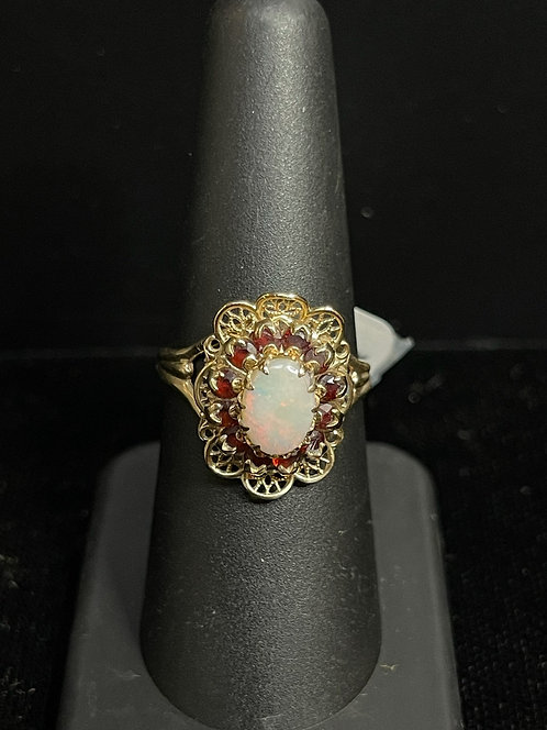 Opal Garnet Cluster Ring