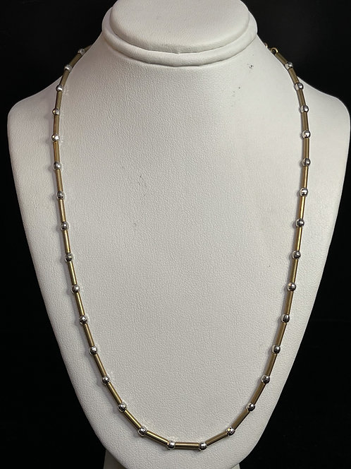 """14K Two Tone Bead and Bar Necklace 16"""""""