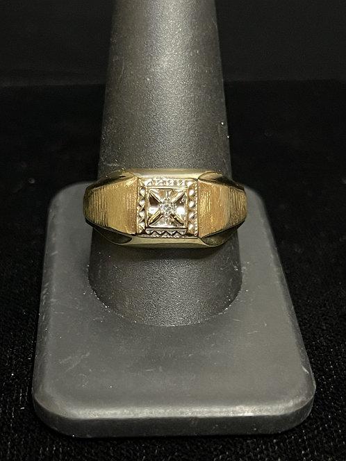 10KYG Mens Diamond Ring
